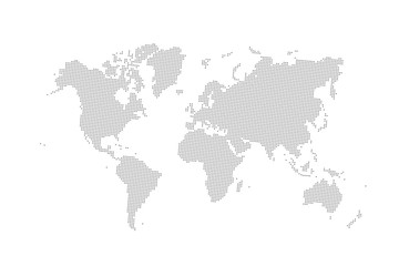 Grey vector dotted world map.