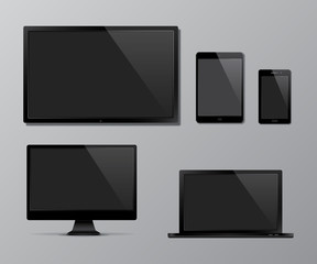 TV screen, computer monitor, notebook, tablet computer, mobile phone templates. Black digital devices mock up. Vector illustration.