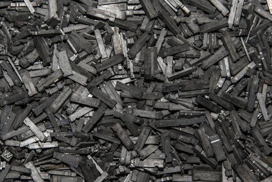 Vintage lead type pile closeup