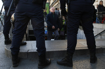 Spanish police stand guard before an anti-fascist demonstration in Madrid