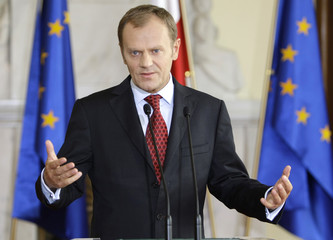 Polish PM Tusk speaks to the media at the Prime Minister's Chancellery in Warsaw