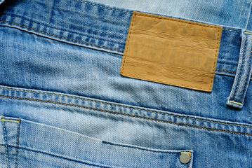 Old blue denim jeans wirh blank label