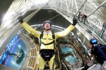 Parachuter Renz jumps inside Tropical Islands resort in Brand.