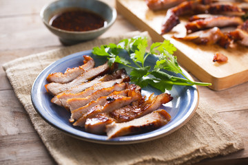 cut grilled pork in plate,thai food