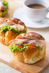 tasty ham egg roll sandwich for breakfast