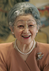 Japan's Empress Michiko attend news conference ahead of their trip to Britain, Sweden and Baltic states at the Imperial Palace in Tokyo