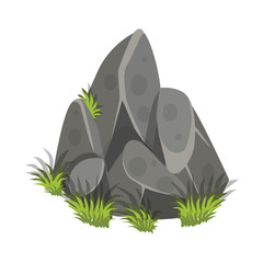 Isometric Cartoon Rock Slab with Grass - Elements for Tileset Map, Landscape Design or Game Object in Colorful Detailed Vector