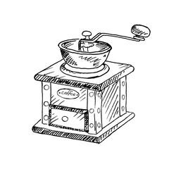 Hand drawn vintage coffee grinder. Sketch, vector illustration.