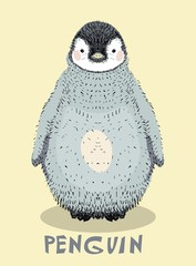 Cute baby penguin illustration
