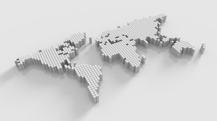 Modern world map,world map made by cube box,abstract world map.3D rendering