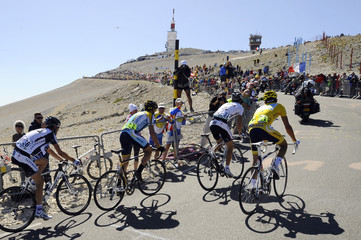 Team Saxo Bank rider Schleck of Luxembourg cycles during the 20th stage of the 96th Tour de France cycling race between Montelimar and Mont Ventoux
