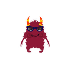 Scary Cool Monster Avatar - Animated Cartoon Character in Flat Vector - Use as Emoji, Mascot or Illustration Isolated on White Background