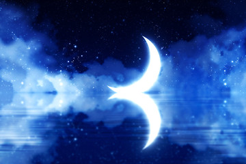 Crescent Moon over Starry Sky