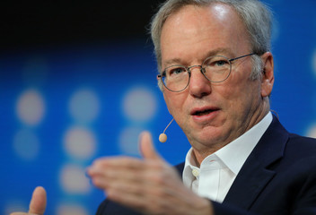 Alphabet's Executive Chairman Eric Schmidt speaks during the Milken Institute Global Conference in Beverly Hills