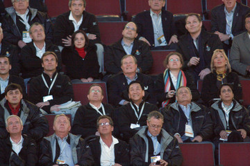 IOC memebers watch a video during a venue tour in Chicago