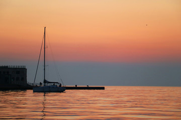 Boat at sunset in Triest