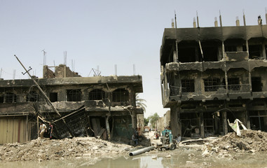 A view of buildings destroyed during clashes in Baghdad's Sadr City