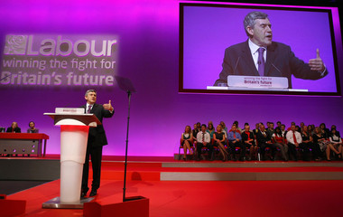 Britain's Prime Minister Brown delivers his keynote address to the Labour Party Conference in Manchester, northern England