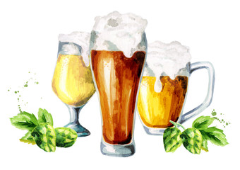 Colors of beer. 3 glasses and hops