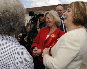 Tamsin Dunwoody, Labour party prospective candidate for Crewe and Nantwich, laughs as she canvasses with Home Secretary Jacqui Smith in Crewe