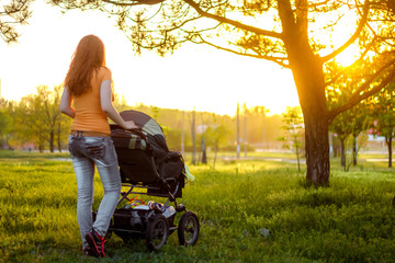 Young mother walking with baby carriage in the park, from the back, evening sun shine