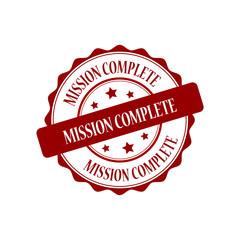 Mission complete red stamp illustration