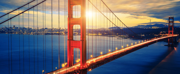 Famous Golden Gate Bridge at sunrise