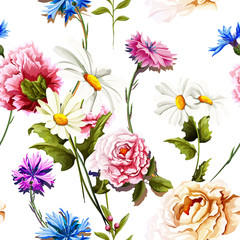 Seamless pattern of carnation flowers with chamomile (camomile), leaves, cornflowers and peony on white. Vintage style. Vector stock