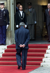 NEWLY APPOINTED PRIME MINISTER JEAN-PIERRE RAFFARIN ENTERS MATIGONAFTER HE BID FAREWELL TO OUTGOING ...