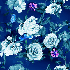 Seamless background pattern of roses, peony, cornflowers (blue-bonnet), roses buds with leaves on dark blue. Watercolor, hand drawn. Vector - stock