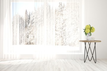 White room with table and winter landscape in window. Scandinavian interior design. 3D illustration