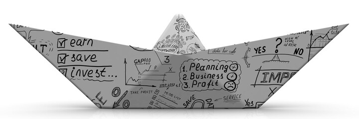 Paper boat from a sheet with business sketches on white surface