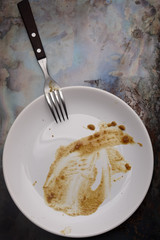 Dirty plate on a grunge background