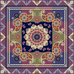 Ethnic silk scarf in indian style with paisley and flower mandala.