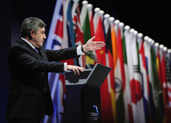 Britain's Prime Minister Gordon Brown addresses a news conference at the G20 summit at the ExCel centre, in east London