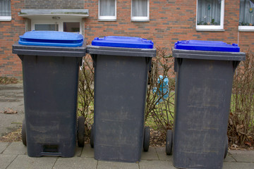 Large trash cans stand on a street