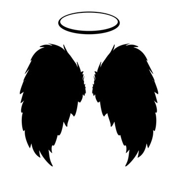 Silhouette of black angel wings and halo on a white background. Vector feathers silhouette design element.
