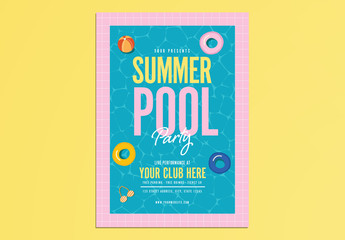 Pool Party Event Flyer Layout