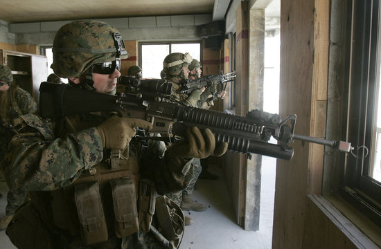 U.S. marines equipped with MILES are pictured during a military operation in Pocheon