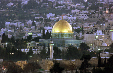 FILE PHOTO OF JERUSALEM VIEW WITH DOME OF THE ROCK ON TEMPLE MOUNT AND JEWISH QUARTER AT SUNSET.