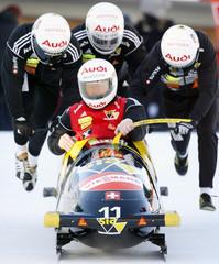 Switzerland's Galliker, Weber, Streltsov and Bloechliger start training for four men's Bobsleigh World Cup tournament in St. Moritz