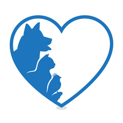 Cat and Dog. Blue Heart