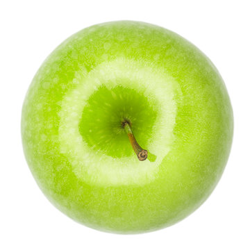 Green juicy shiny apple on white background, isolated, high quality photo with clipping path