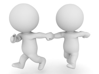 3D Two 3D Characters running and holding hands - zoomed out