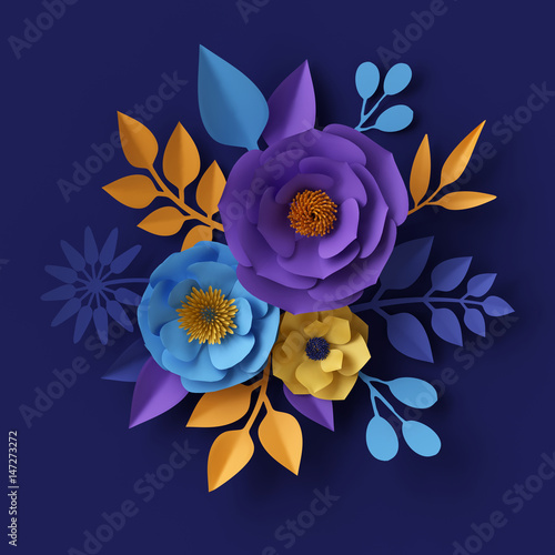 3d render digital illustration yellow blue paper flowers design 3d render digital illustration yellow blue paper flowers design bridal bouquet floral mightylinksfo