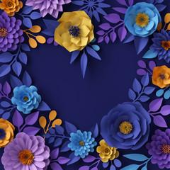 3d render, digital illustration, yellow blue paper flowers design, floral heart shape, Valentine's day festive background