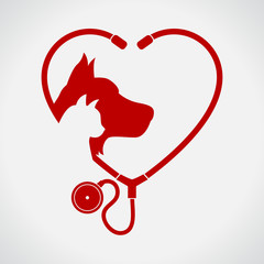 Cat and Dog. Red Heart. Veterinary symbol