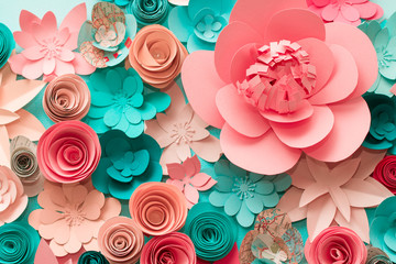 Floral trendy abstract background with 3d paper flowers