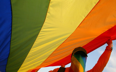 A member of Romania's gay community holds a rainbow flag during a gay parade in Bucharest