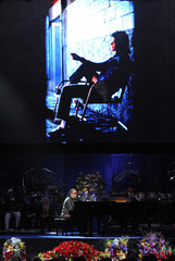 Musician Stevie Wonder performs during the memorial service for Michael Jackson at the Staples Center in Los Angeles